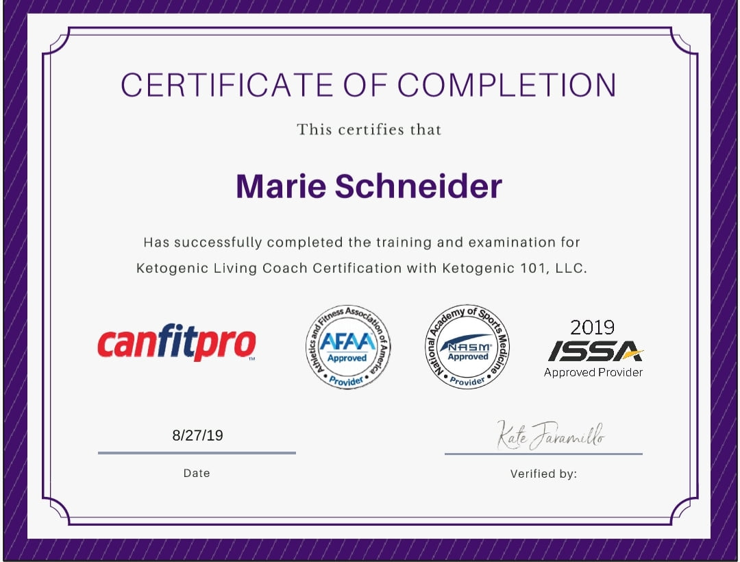 Marie Schneider certificate of completion for Ketigenic Living Coach Certification